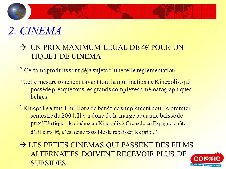 2. CINEMA UN PRIX MAXIMUM LEGAL DE 4 POUR UN TIQUET DE CINEMA ° Certains produits sont déjà sujets dune telle règlementation ° Cette mesure toucherait
