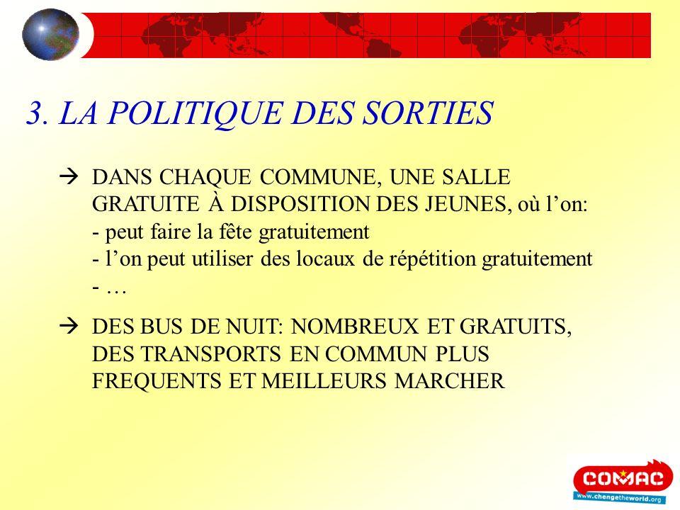 3. LA POLITIQUE DES SORTIES DANS CHAQUE COMMUNE, UNE SALLE GRATUITE À DISPOSITION DES JEUNES, où lon: - peut faire la fête gratuitement - lon peut uti