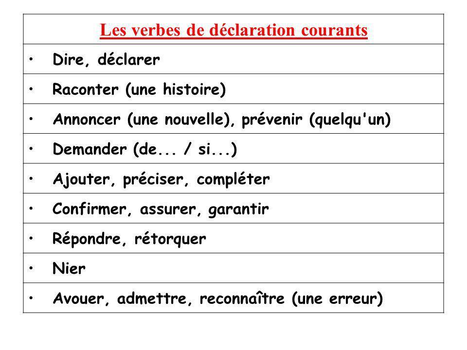 Les verbes de déclaration courants Dire, déclarer Raconter (une histoire) Annoncer (une nouvelle), prévenir (quelqu'un) Demander (de... / si...) Ajout