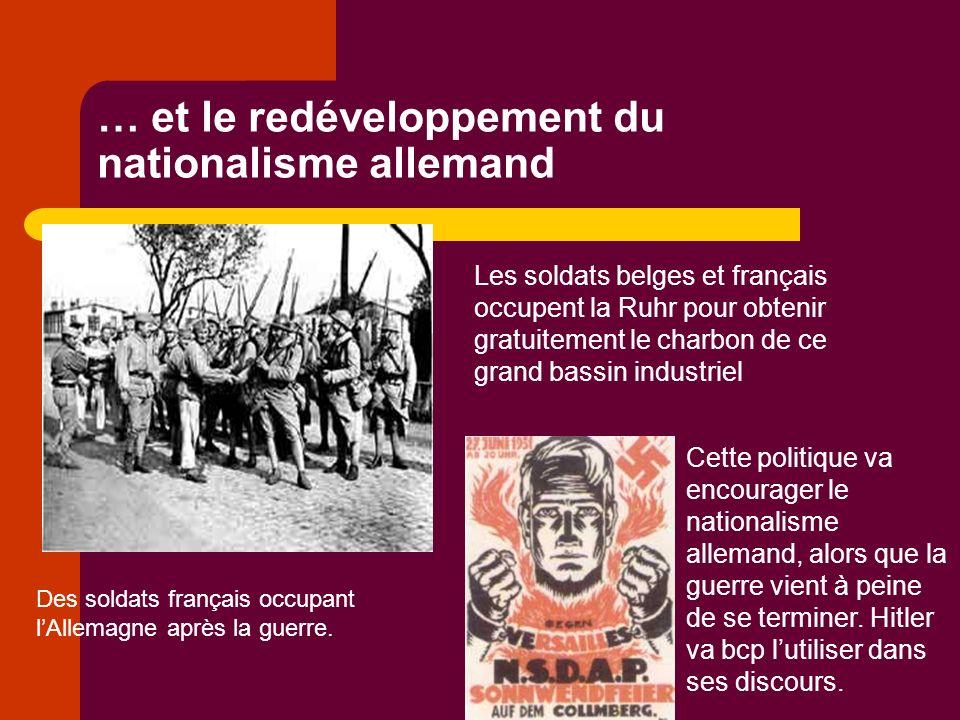 … et le redéveloppement du nationalisme allemand Les soldats belges et français occupent la Ruhr pour obtenir gratuitement le charbon de ce grand bassin industriel Des soldats français occupant lAllemagne après la guerre.