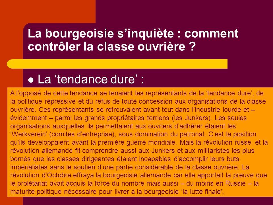 La bourgeoisie sinquiète : comment contrôler la classe ouvrière .
