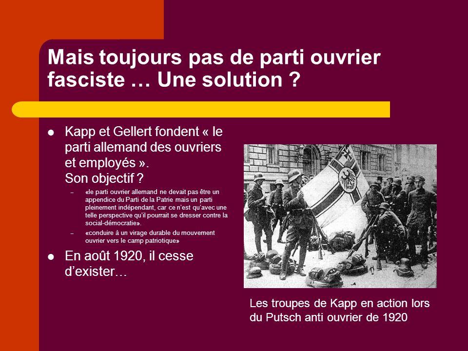Mais toujours pas de parti ouvrier fasciste … Une solution .