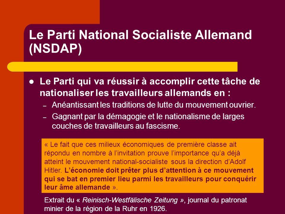 Le Parti National Socialiste Allemand (NSDAP) Le Parti qui va réussir à accomplir cette tâche de nationaliser les travailleurs allemands en : – Anéantissant les traditions de lutte du mouvement ouvrier.