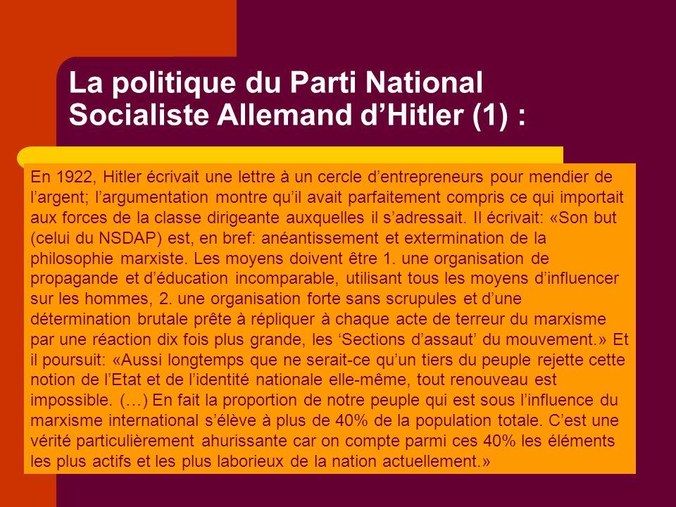 La politique du Parti National Socialiste Allemand dHitler (1) : En 1922, Hitler écrivait une lettre à un cercle dentrepreneurs pour mendier de largent; largumentation montre quil avait parfaitement compris ce qui importait aux forces de la classe dirigeante auxquelles il sadressait.