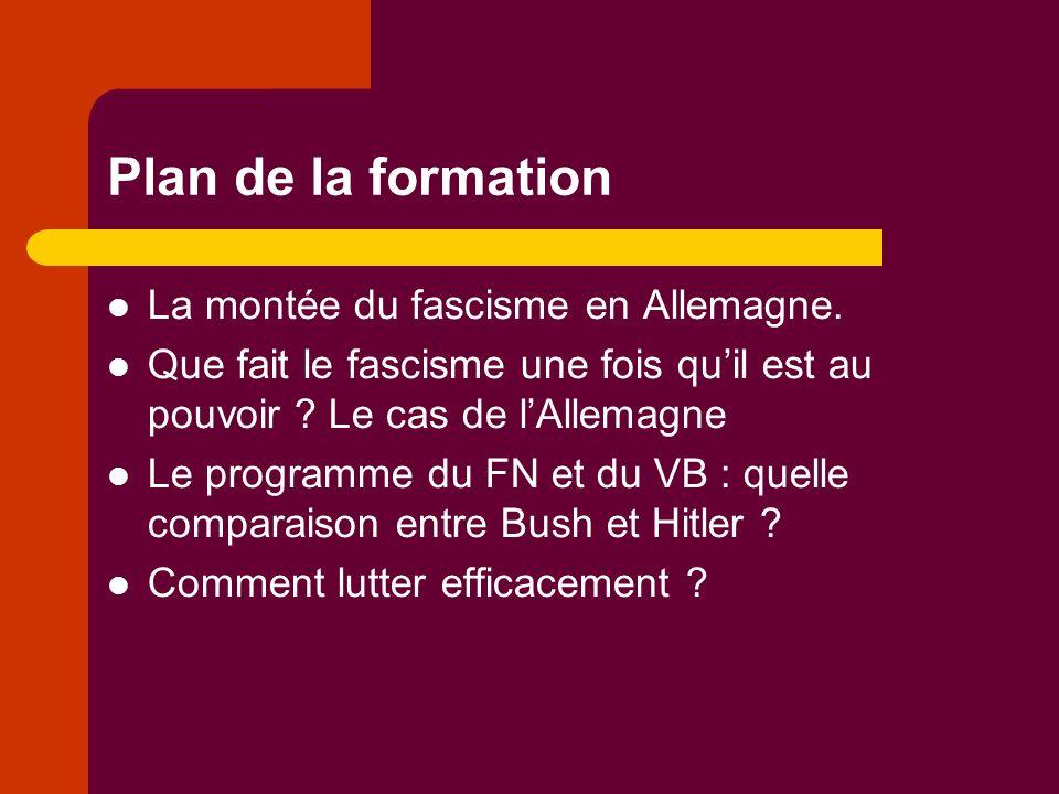 Plan de la formation La montée du fascisme en Allemagne.