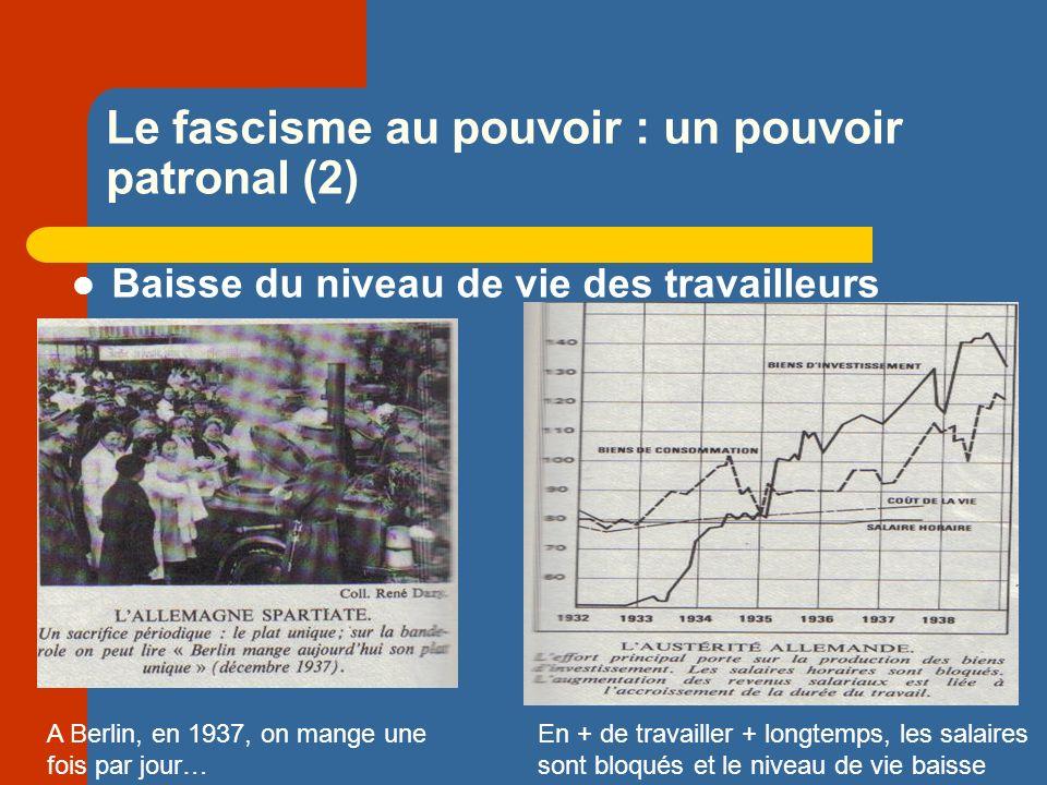 Le fascisme au pouvoir : un pouvoir patronal (2) Baisse du niveau de vie des travailleurs A Berlin, en 1937, on mange une fois par jour… En + de travailler + longtemps, les salaires sont bloqués et le niveau de vie baisse