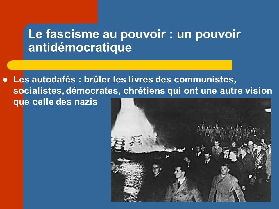 Le fascisme au pouvoir : un pouvoir antidémocratique Les autodafés : brûler les livres des communistes, socialistes, démocrates, chrétiens qui ont une autre vision que celle des nazis