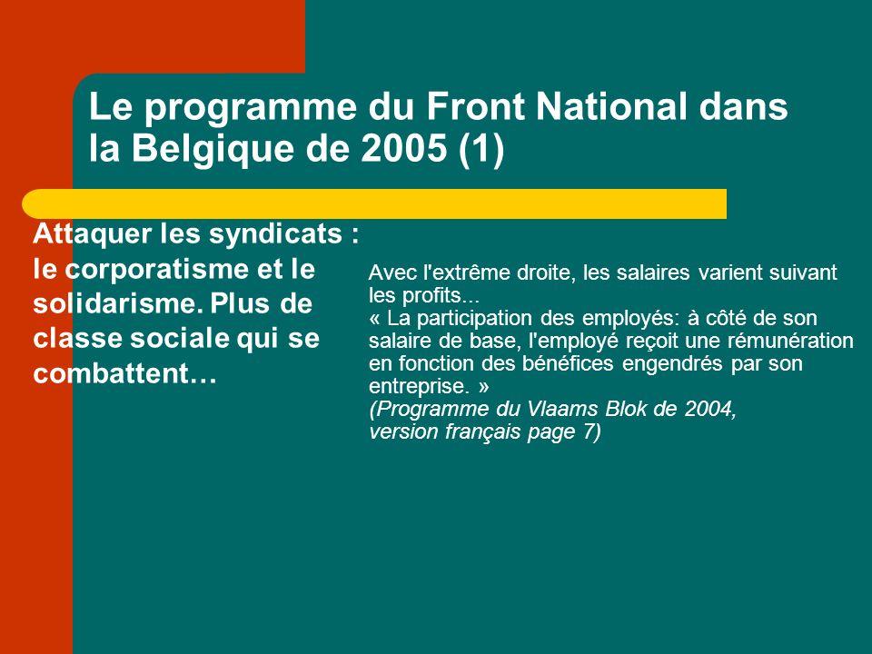 Le programme du Front National dans la Belgique de 2005 (1) Attaquer les syndicats : le corporatisme et le solidarisme.
