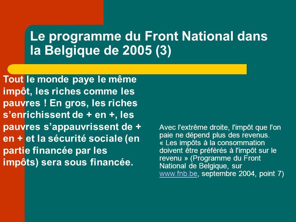 Le programme du Front National dans la Belgique de 2005 (3) Tout le monde paye le même impôt, les riches comme les pauvres .