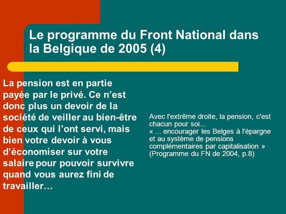 Le programme du Front National dans la Belgique de 2005 (4) La pension est en partie payée par le privé.