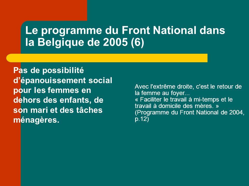 Le programme du Front National dans la Belgique de 2005 (6) Pas de possibilité dépanouissement social pour les femmes en dehors des enfants, de son mari et des tâches ménagères.