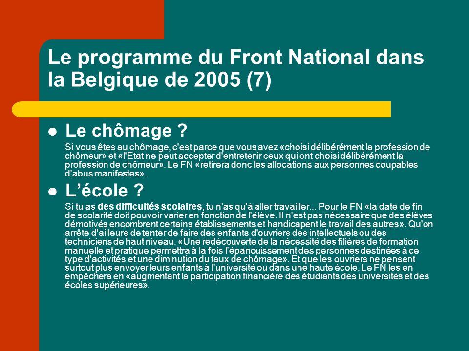 Le programme du Front National dans la Belgique de 2005 (7) Le chômage .