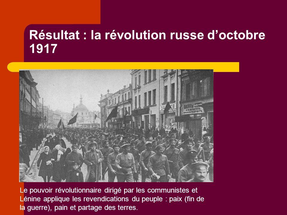 Résultat : la révolution russe doctobre 1917 Le pouvoir révolutionnaire dirigé par les communistes et Lénine applique les revendications du peuple : paix (fin de la guerre), pain et partage des terres.