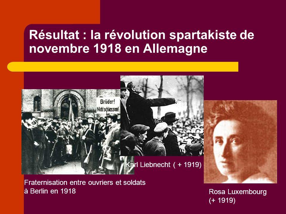 Un échec pour le mouvement révolutionnaire… Les chefs des sociaux-démocrates (le parti socialiste), Erbert et Noske (ici sur la photo) décident de ramener les troupes du front restées fidèles au gouvernement pour détruire la révolution.