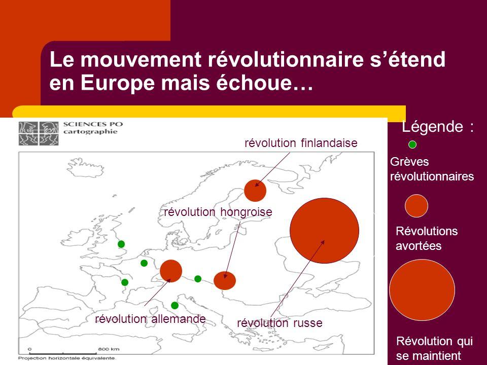 Le mouvement révolutionnaire sétend en Europe mais échoue… révolution russe révolution allemande révolution hongroise révolution finlandaise Légende : Grèves révolutionnaires Révolutions avortées Révolution qui se maintient