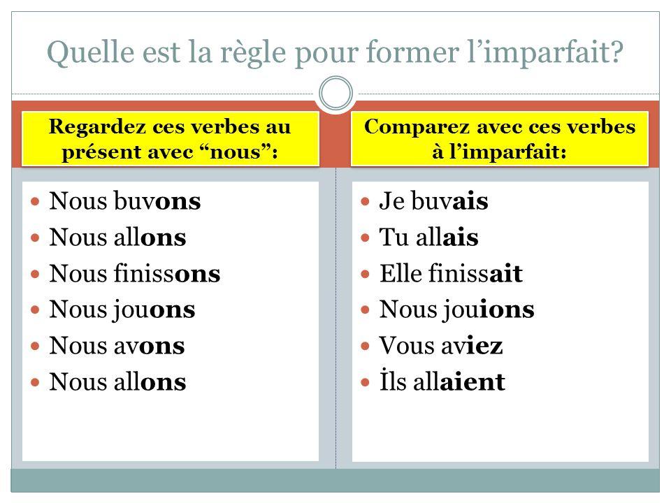 ON PREND LA CONJUGAISON DE VOUS (OU NOUS) AU PRÉSENT ET ON REMPLACE LA FIN PAR JE -------AIS TU -------AIS İL -------AIT NOUS -------IONS VOUS ------IEZ İLS/ ELLES -----AIENT La formation
