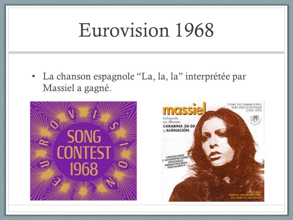 Eurovision 1968 La chanson espagnole La, la, la interprétée par Massiel a gagné.