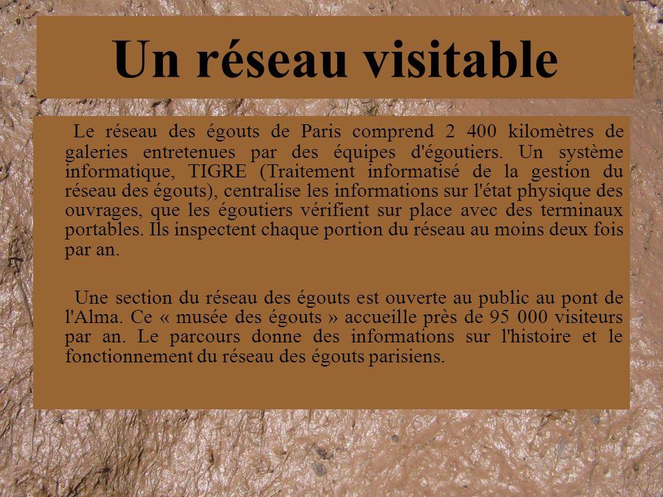 Le réseau des égouts de Paris comprend 2 400 kilomètres de galeries entretenues par des équipes d'égoutiers. Un système informatique, TIGRE (Traitemen