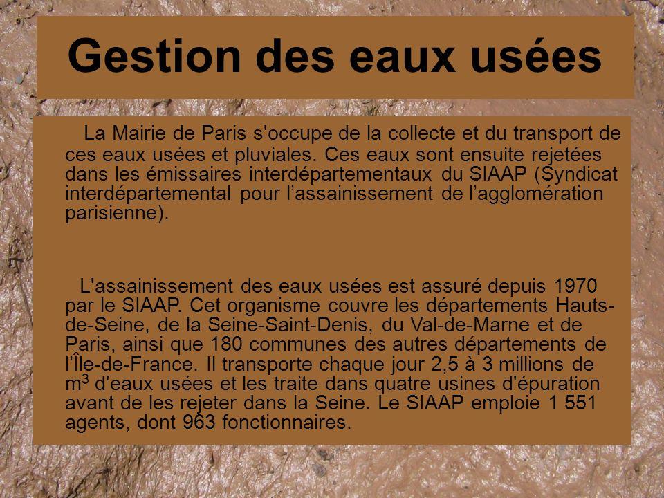 La Mairie de Paris s occupe de la collecte et du transport de ces eaux usées et pluviales.