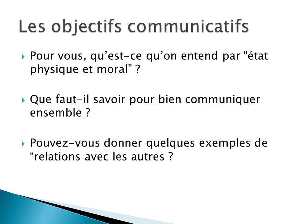 Pour vous, quest-ce quon entend par état physique et moral ? Que faut-il savoir pour bien communiquer ensemble ? Pouvez-vous donner quelques exemples
