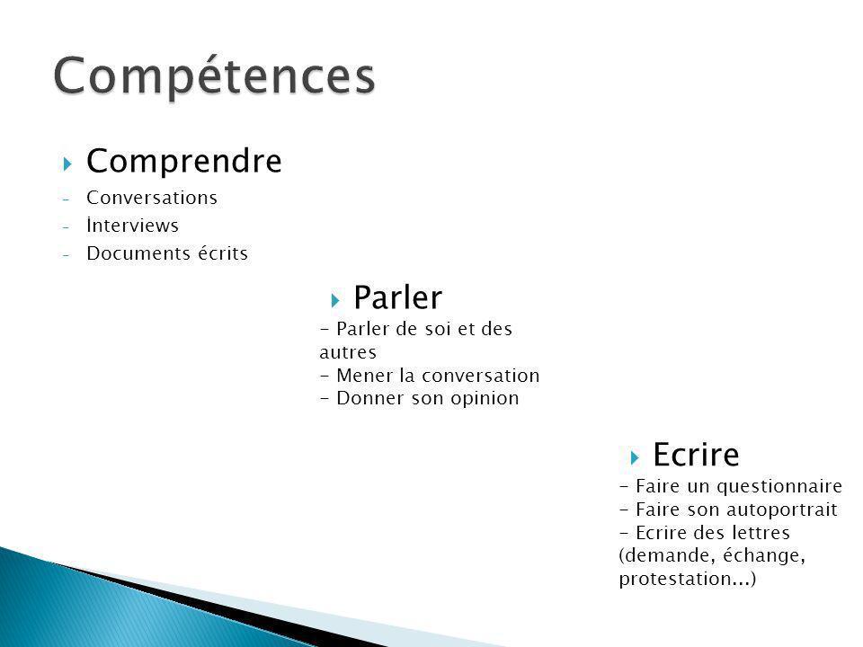 Comprendre - Conversations - İnterviews - Documents écrits Parler - Parler de soi et des autres - Mener la conversation - Donner son opinion Ecrire -