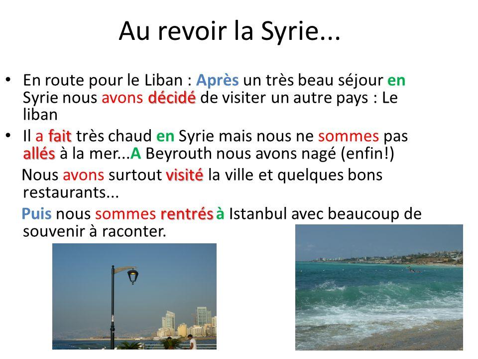 Au revoir la Syrie... décidé En route pour le Liban : Après un très beau séjour en Syrie nous avons décidé de visiter un autre pays : Le liban fait al