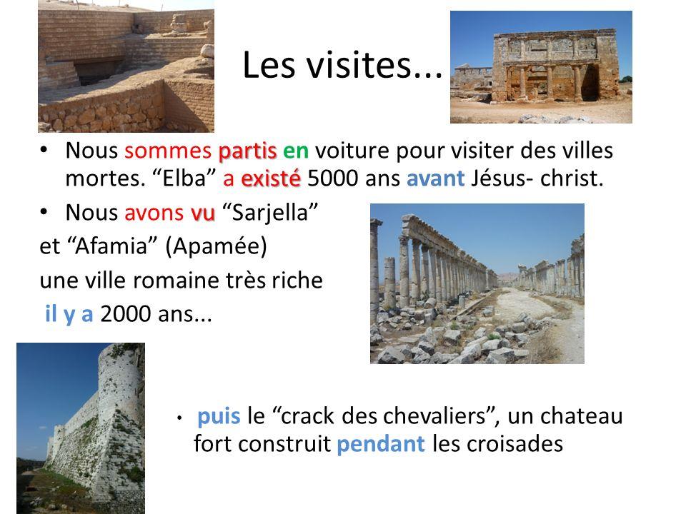 Les visites... partis existé Nous sommes partis en voiture pour visiter des villes mortes. Elba a existé 5000 ans avant Jésus- christ. vu Nous avons v
