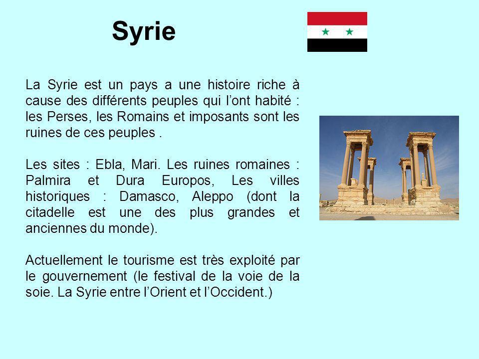 Syrie La Syrie est un pays a une histoire riche à cause des différents peuples qui lont habité : les Perses, les Romains et imposants sont les ruines