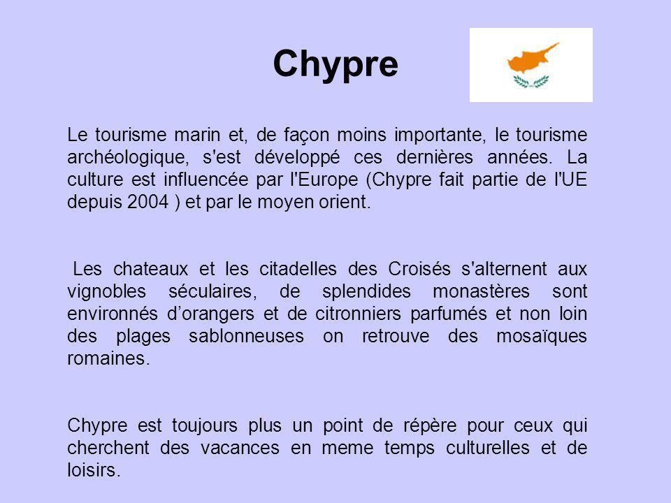 Chypre Le tourisme marin et, de façon moins importante, le tourisme archéologique, s'est développé ces dernières années. La culture est influencée par