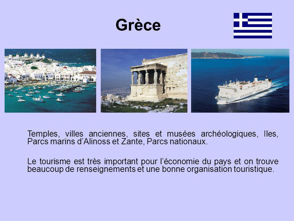 Temples, villes anciennes, sites et musées archéologiques, Iles, Parcs marins dAlinoss et Zante, Parcs nationaux. Le tourisme est très important pour