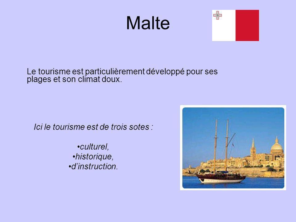 Malte Le tourisme est particulièrement développé pour ses plages et son climat doux. Ici le tourisme est de trois sotes : culturel, historique, dinstr