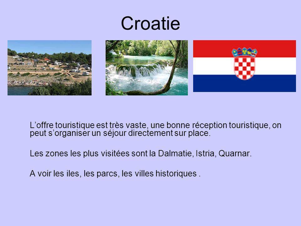 Croatie Loffre touristique est très vaste, une bonne réception touristique, on peut sorganiser un séjour directement sur place. Les zones les plus vis