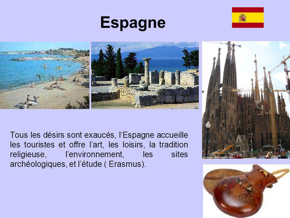 Tous les désirs sont exaucés, lEspagne accueille les touristes et offre lart, les loisirs, la tradition religieuse, lenvironnement, les sites archéolo