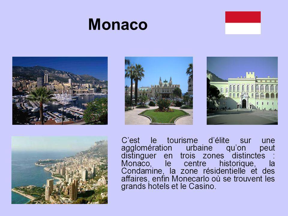 Cest le tourisme délite sur une agglomération urbaine quon peut distinguer en trois zones distinctes : Monaco, le centre historique, la Condamine, la