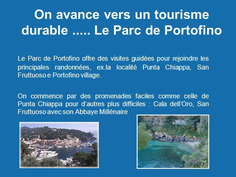On avance vers un tourisme durable..... Le Parc de Portofino Le Parc de Portofino offre des visites guidées pour rejoindre les principales randonnées,