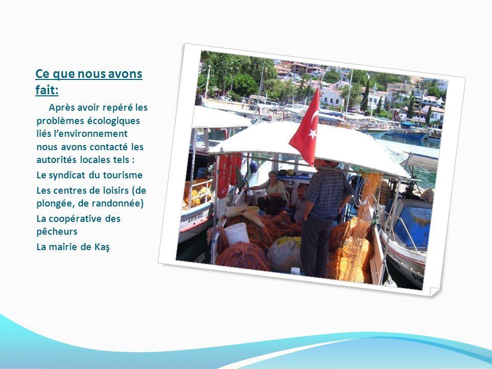 Ce que nous avons fait: Après avoir repéré les problèmes écologiques liés lenvironnement nous avons contacté les autorités locales tels : Le syndicat du tourisme Les centres de loisirs (de plongée, de randonnée) La coopérative des pêcheurs La mairie de Kaş