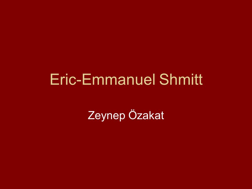 Biographie Eric-Emmanuel Schmitt, fils de professeurs d éducation physique, a préféré les études littéraires au sport.