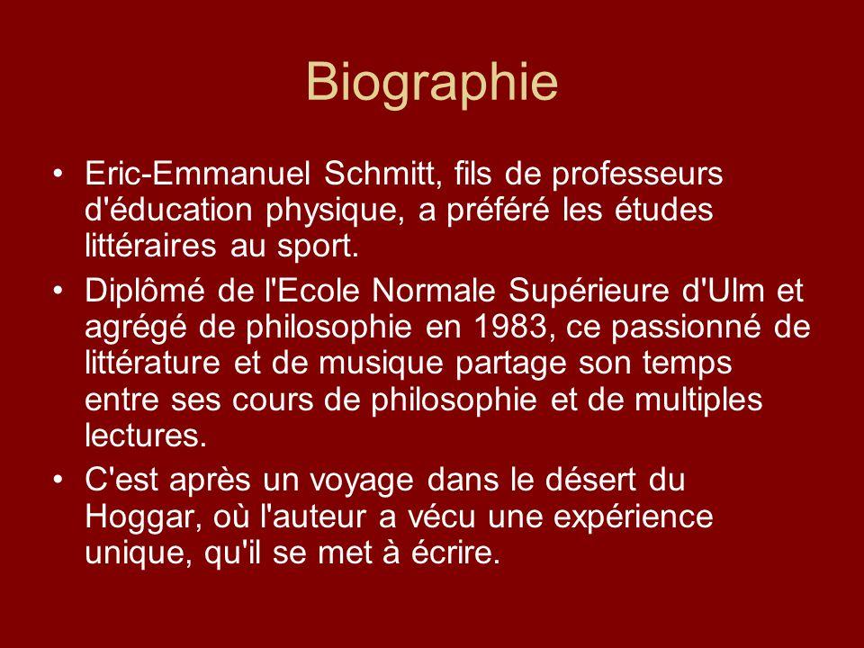Biographie Eric-Emmanuel Schmitt, fils de professeurs d'éducation physique, a préféré les études littéraires au sport. Diplômé de l'Ecole Normale Supé