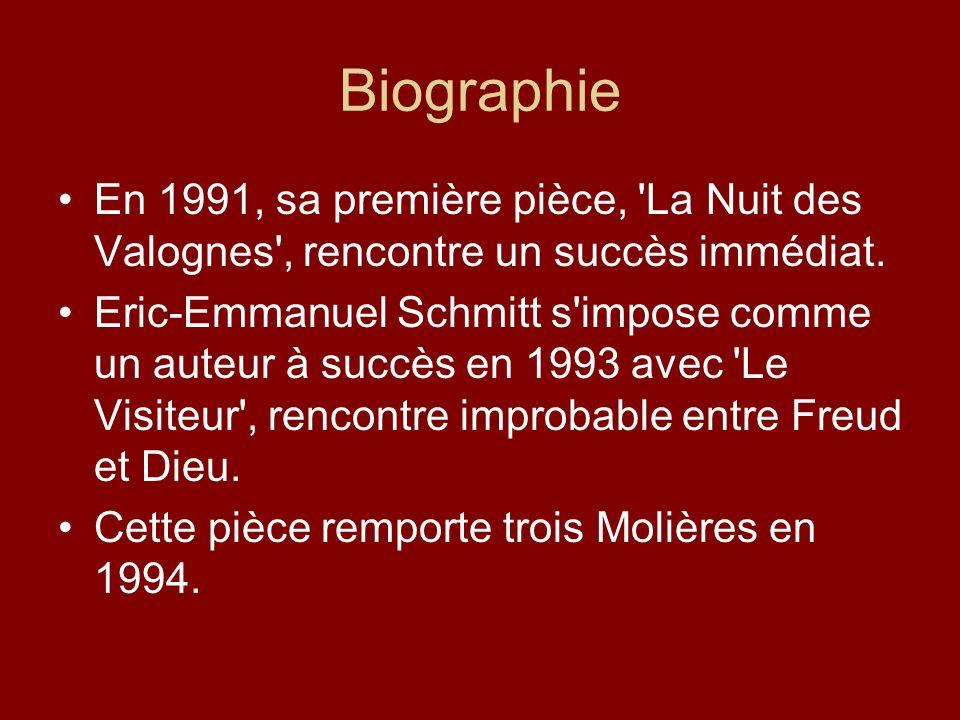 Biographie En 1991, sa première pièce, 'La Nuit des Valognes', rencontre un succès immédiat. Eric-Emmanuel Schmitt s'impose comme un auteur à succès e