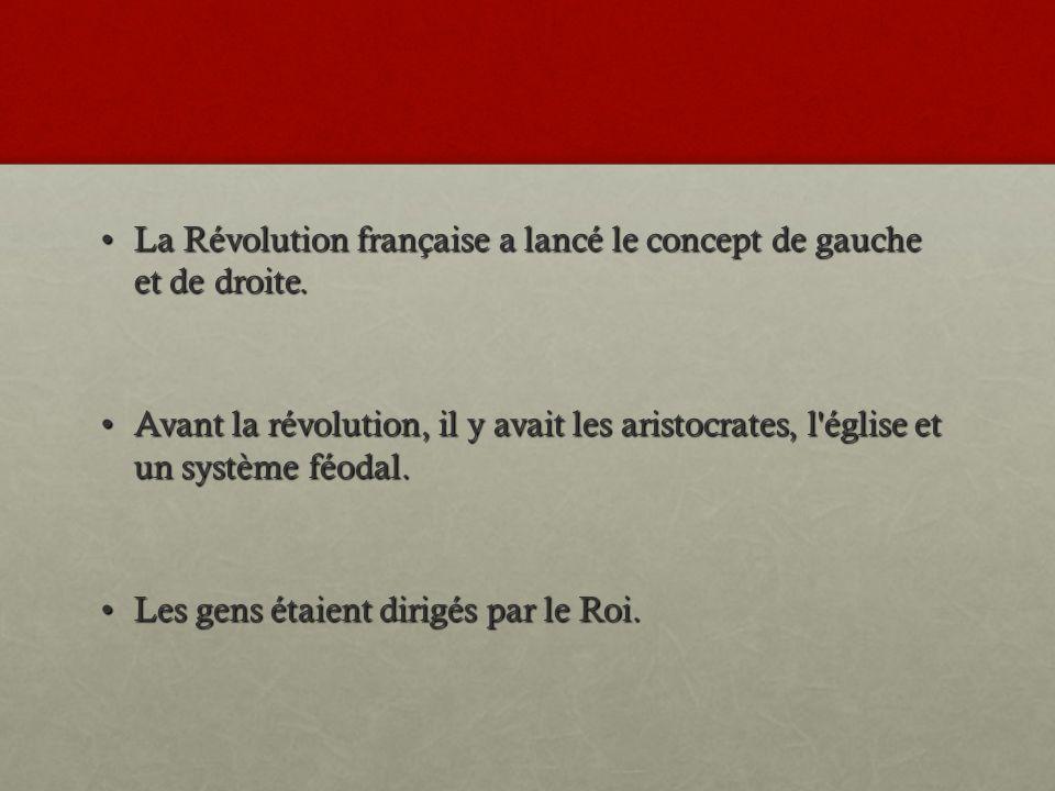 La Révolution française a lancé le concept de gauche et de droite.La Révolution française a lancé le concept de gauche et de droite.