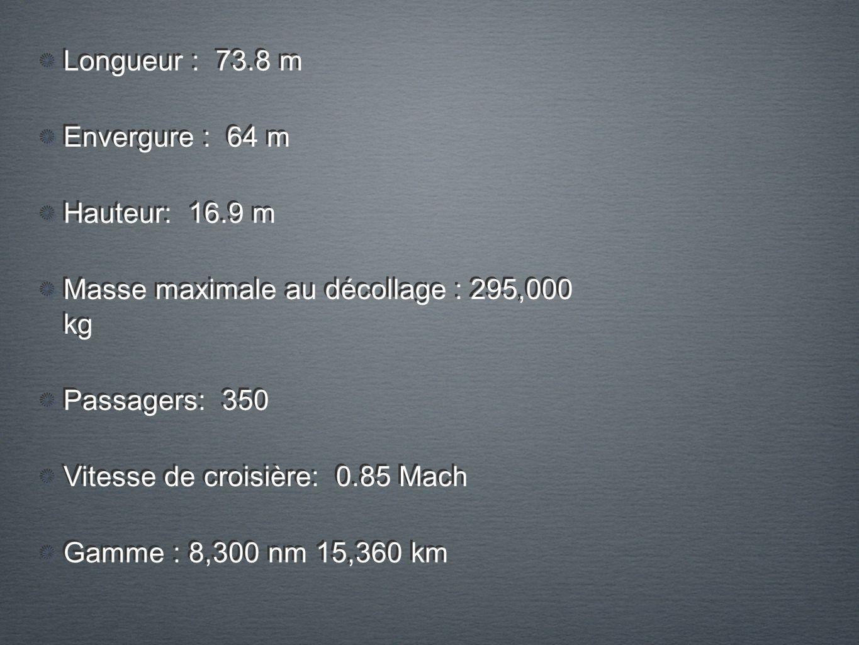 Longueur : 73.8 m Envergure : 64 m Hauteur: 16.9 m Masse maximale au décollage : 295,000 kg Passagers: 350 Vitesse de croisière: 0.85 Mach Gamme : 8,300 nm 15,360 km Longueur : 73.8 m Envergure : 64 m Hauteur: 16.9 m Masse maximale au décollage : 295,000 kg Passagers: 350 Vitesse de croisière: 0.85 Mach Gamme : 8,300 nm 15,360 km