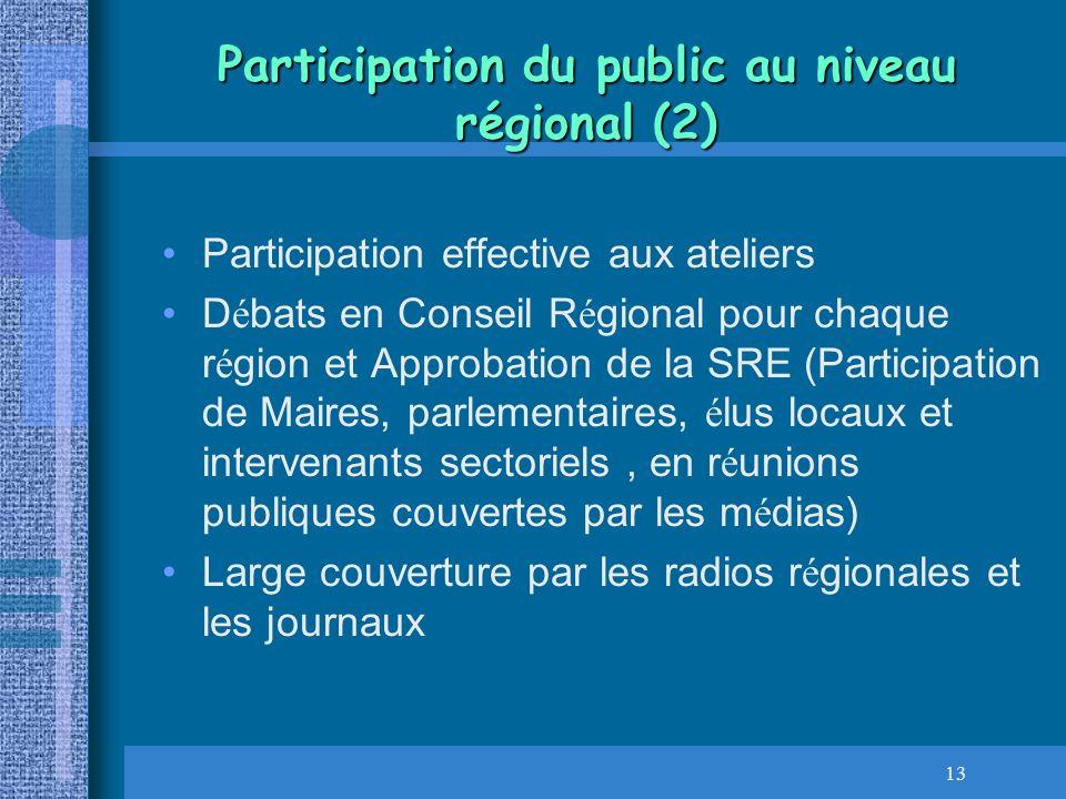 13 Participation du public au niveau régional (2) Participation effective aux ateliers D é bats en Conseil R é gional pour chaque r é gion et Approbat
