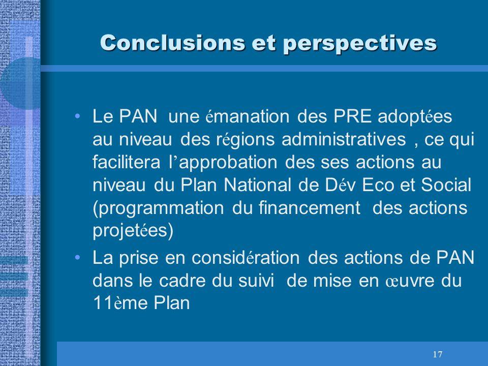 17 Conclusions et perspectives Le PAN une é manation des PRE adopt é es au niveau des r é gions administratives, ce qui facilitera l approbation des s