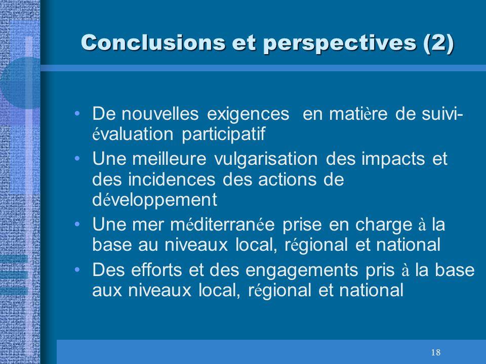 18 Conclusions et perspectives (2) De nouvelles exigences en mati è re de suivi- é valuation participatif Une meilleure vulgarisation des impacts et d