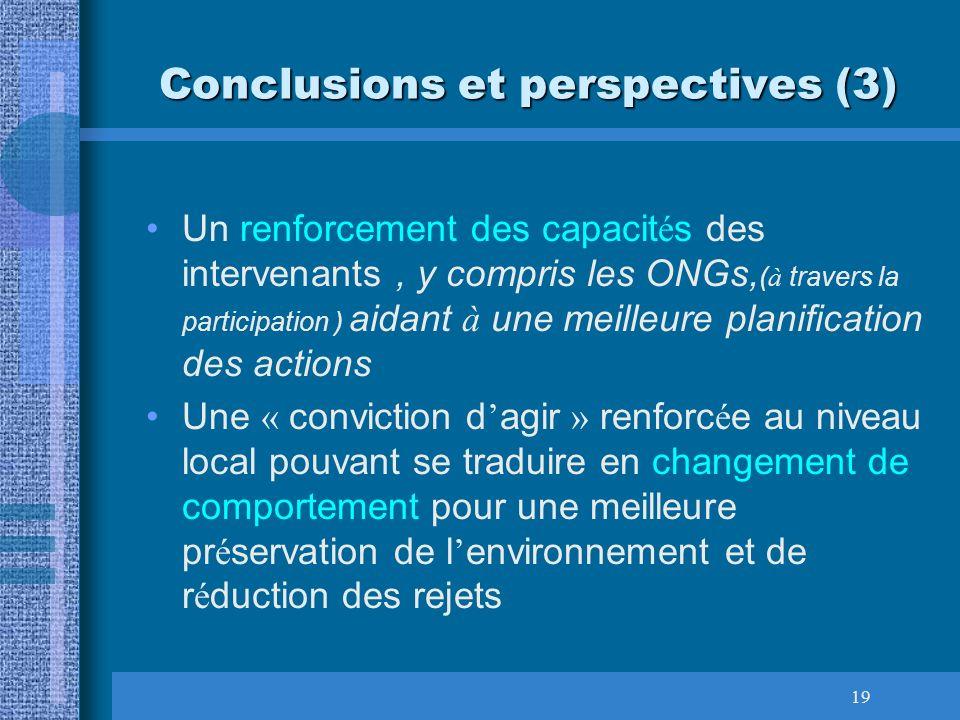 19 Conclusions et perspectives (3) Un renforcement des capacit é s des intervenants, y compris les ONGs, ( à travers la participation ) aidant à une m