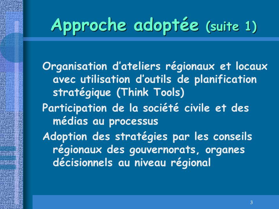 4 Approche adoptée (suite 2) Processus de participation élargie à tous les niveaux du Processus de préparation du PAN Préparation de lintégration des PRE dans le 11ème Plan National de Développement à travers la préparation des PRE (Plans régionaux denvironnement) définissant actions et acteurs responsables et indicateurs de suivi