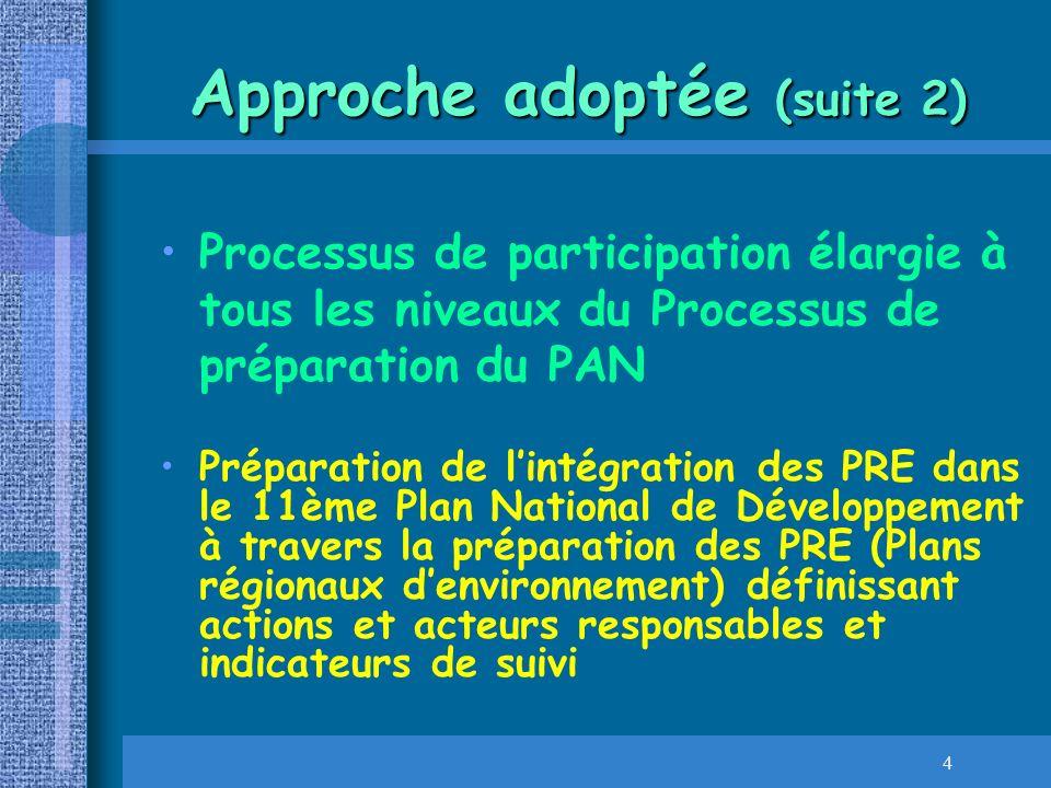 4 Approche adoptée (suite 2) Processus de participation élargie à tous les niveaux du Processus de préparation du PAN Préparation de lintégration des