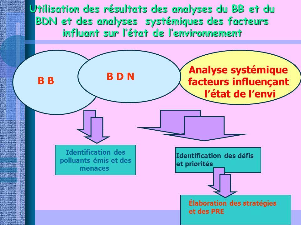 6 Utilisation des résultats des analyses du BB et du BDN et des analyses systémiques des facteurs influant sur létat de lenvironnement B Analyse systé