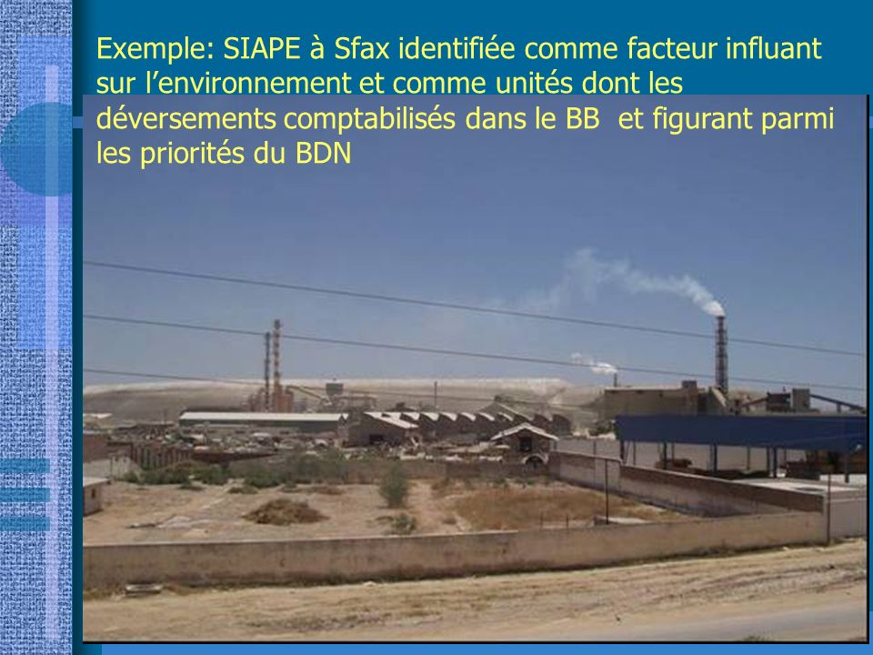 7 Exemple: SIAPE à Sfax identifiée comme facteur influant sur lenvironnement et comme unités dont les déversements comptabilisés dans le BB et figuran