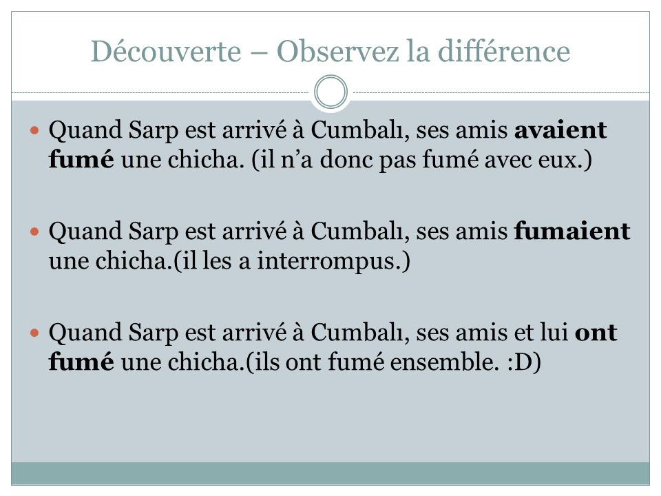 Découverte – Observez la différence Quand Sarp est arrivé à Cumbalı, ses amis avaient fumé une chicha. (il na donc pas fumé avec eux.) Quand Sarp est